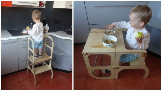 Learning tower / table / chair all-in-one, kitchen helper step stool for toddler by ettetete on Etsy https://www.etsy.com/listing/294919169/learning-tower-table-chair-all-in-one