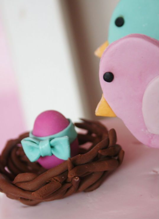 Baby Bird Cake Pops | How adorable are the little bird cookies? Kate made those, too!