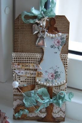 Gorgeous mixed media card with lace, cardboard, pearls, ribbon