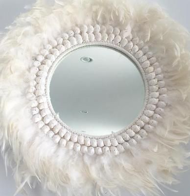 Hanging Wall Mirror Feathers Shells White Boho Luxe Coastal Beach House Decor
