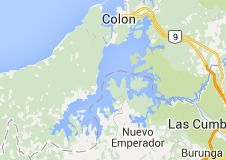 Gatun Lake is a large artificial lake to the south of Colón, Panama. It forms a major part of the Panama Canal, carrying ships for 33 km of their transit across the Isthmus of Panama. Map of gatun lake