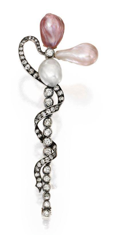 Gold, Silver, Natural Pearl and Diamond Brooch, Circa 1880