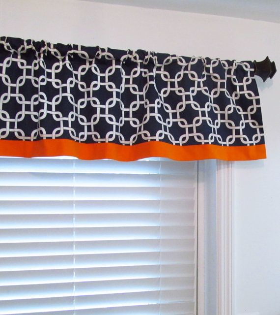 Trimmed Valance With Contrasting Fabric Band Gotcha Navy