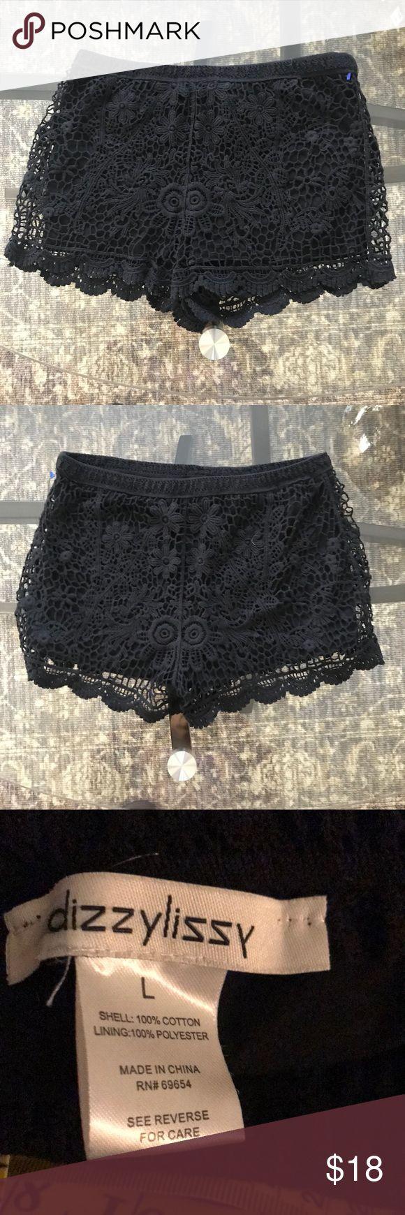 "Black crochet shorts Crochet fully lined shorts with elastic waistline inseam 3"" dizzylizzy Shorts"
