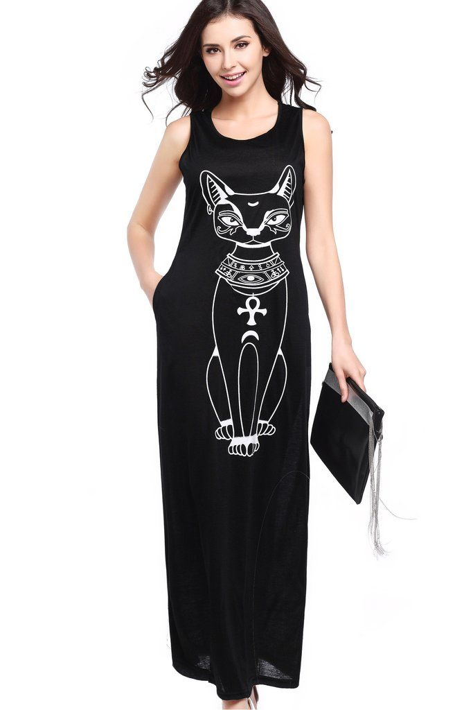 135bcc36a631 B| Chicloth Cute Women Sleeveless Animal Print Maxi Casual Dresses ...