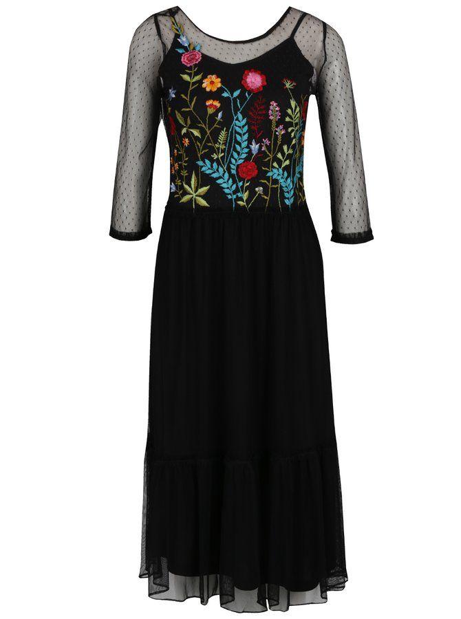 Čierne priesvitné šaty s výšivkou a spodničkou Dorothy Perkins