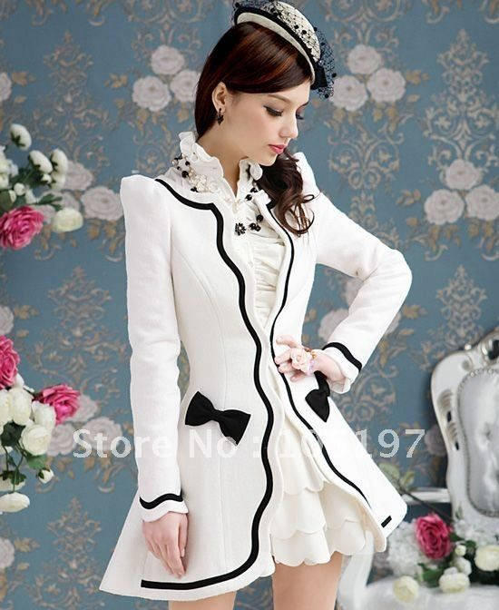 white coat with black scalloped edge with bows. #lolita