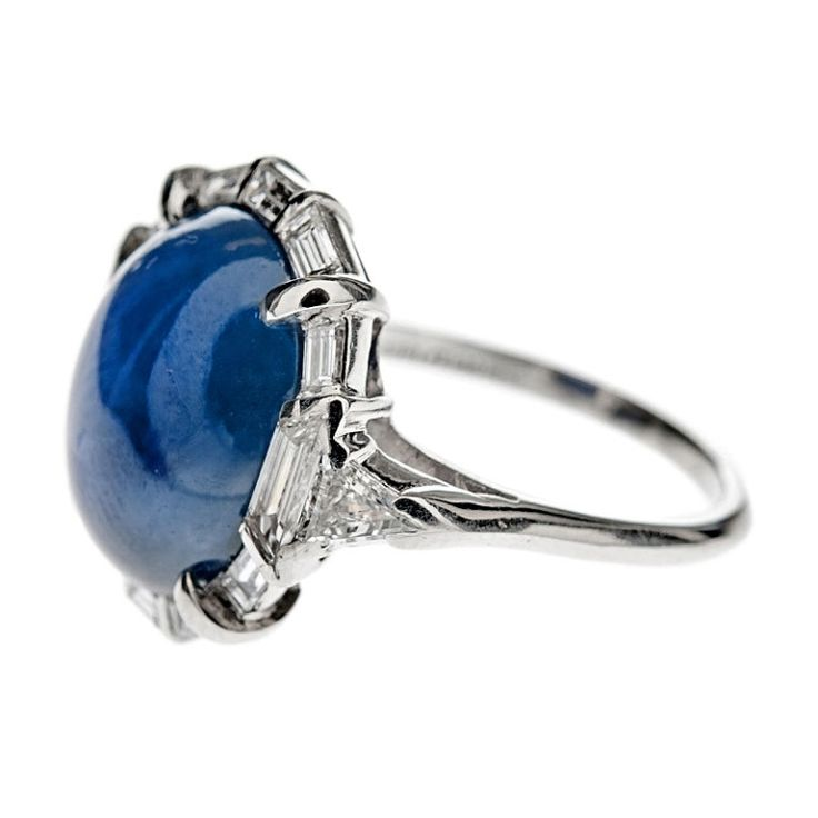 Non Heat Treated Burma Star Sapphire Art Deco Ring image 3