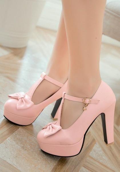 0c492beaceb Pink Round Toe Chunky Bow Sweet Buckle High-Heeled Shoes in 2019 ...