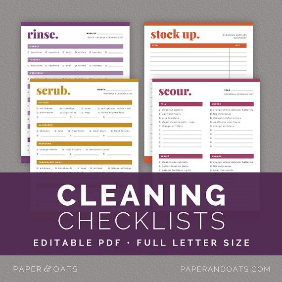 cleaning checklists  u2013 editable  daily  weekly  monthly