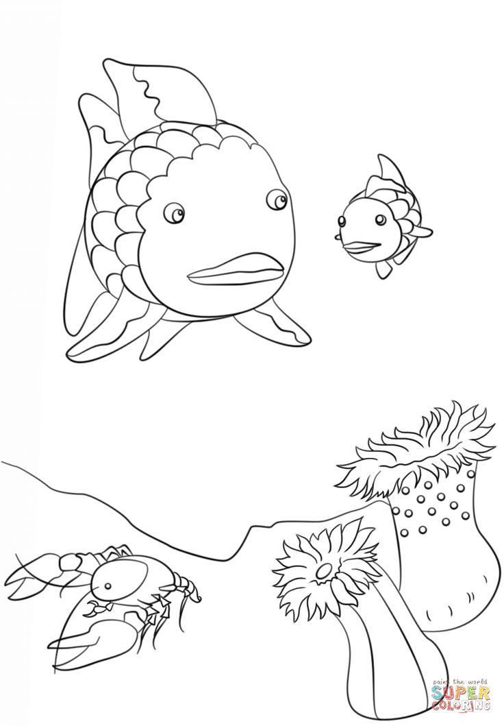 Rainbow Fish, Crawfish and Small Fish coloring page Free