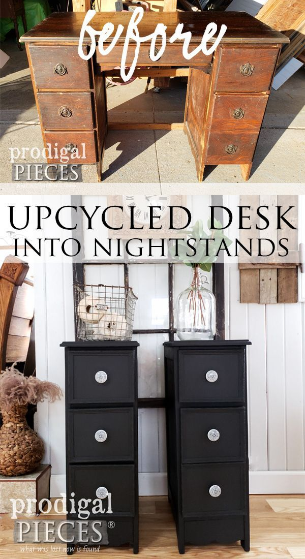 Upcycled Desk Into Nightstands Diy Fun Recycled Furniture Repurposed Furniture Diy Nightstand