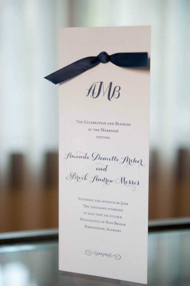 White and navy wedding program M Elizabeth