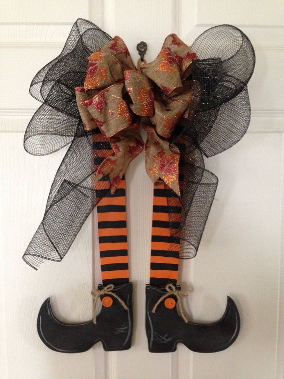 HALLOWEEN WITCH Legs DOOR/Wall hanger/wreath on Etsy, $22.50