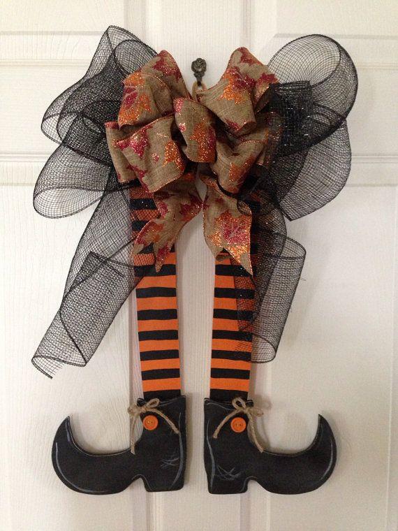 HALLOWEEN WITCHES LEGS Door Hanger, Deco Mesh Halloween Hanger, Witch Wreath on Etsy, $25.00