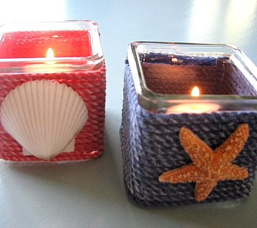 Seashell Nautical Beach Decor, Candle Votive Set of 2 w Red and Navy Blue Roping
