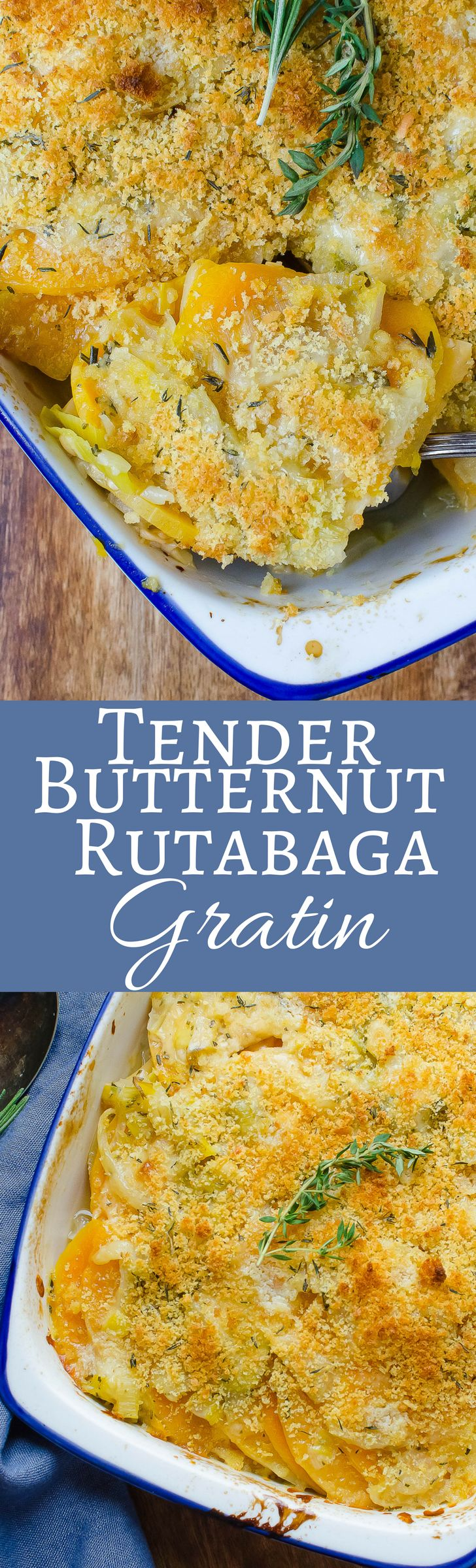Tender Butternut Rutabaga Gratin is an easy, healthy side dish with a cheesy interior and a crumb topping! via @GarlicandZest