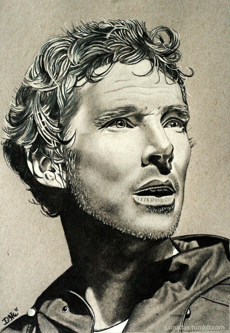 Benedict Cumberbatch as Hamlet in the Barbican's 2015 production, white charcoal and Staedtler graphite pencils on Strathmore Toned Grey paper