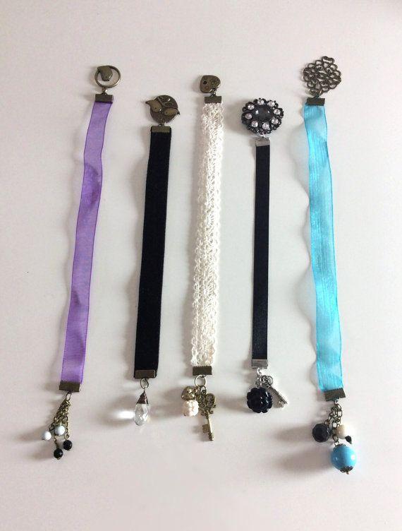 Black satin ribbon bookmark by PrettyRandomCrafts on Etsy, £5.00