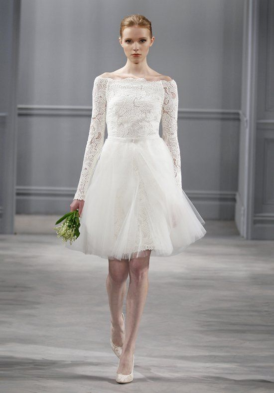 A-line wedding dress with off-the-shoulder neckline and lace long sleeves I Style: Jolie Dress I by Monique Lhuillier I http://knot.ly/6492BIITy