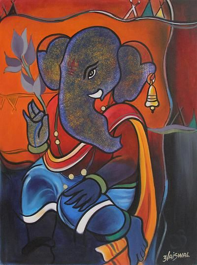 Hinduism Deity Ganesha Vinayak Painting Signed India Arts - Peaceful Ganesha | NOVICA