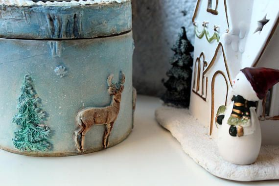 Round box, All I see is Magic, Winter Story, Deer, Winter idyll, Make Believer, Freedom, Unisex box, OOAK, Hand Painted, Home Decor, Winter