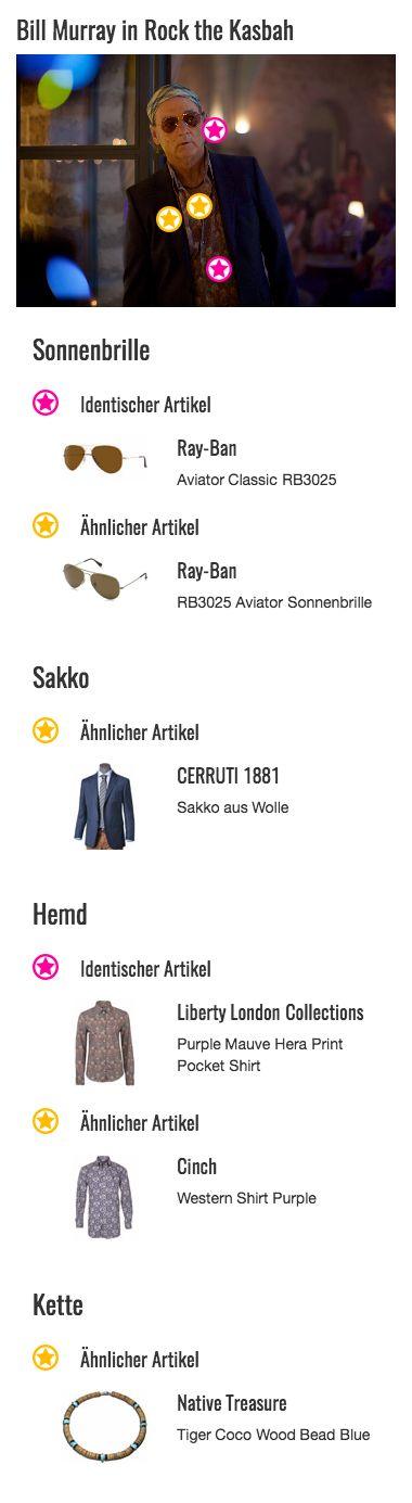 Bei einem Ausflug in die Wüste Kabuls darf eine Sonnenbrille als Schutz für die Augen natürlich nicht fehlen. Musikmanager Richie Lanz (Bill Murray) hat zu diesem Zweck das klassische Modell RB3025 der Marke Ray-Ban in angesagter Aviator-Optik gewählt, deren braune, getönte Gläser von einem golden glänzendem Gestell umrahmt werden. Ein extravagantes und verdammt stylisches Accessoire, auf das er zu zahlreichen Anlässen zurückgreift.