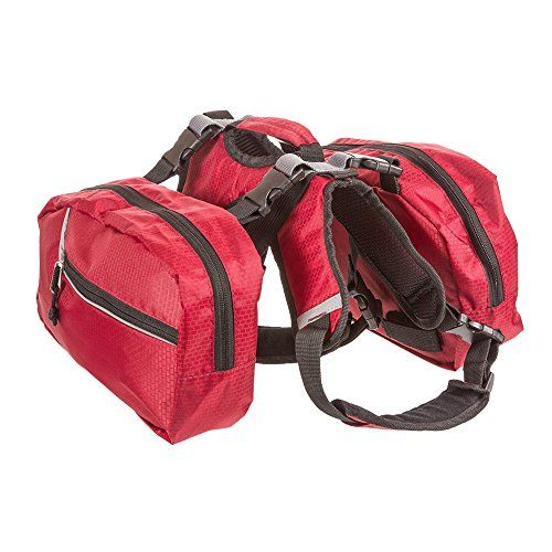 BINGPET Adjustable Dog Backpack for Hiking Camping Travel Pack Outdoor Accessory Saddlebag, Red L *** You can get additional details at the image link.