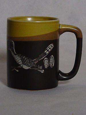coffee mug cup roadrunner black brown gold southwestern