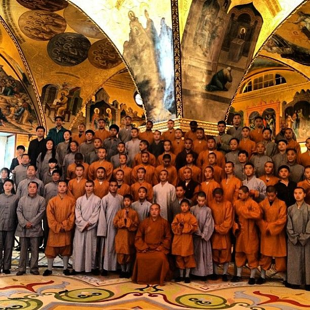The Abbot and his delegation of Warrior Monks stopping for a picture on our tour of the Great Kremlin Palace.