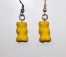 Sárga gumicukor maci  fülbevaló.  Ajándék 365