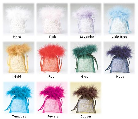 These feather top organza pouches are great for adding a touch of class to your products. Each pouch has a matching colour drawstring ribbon.