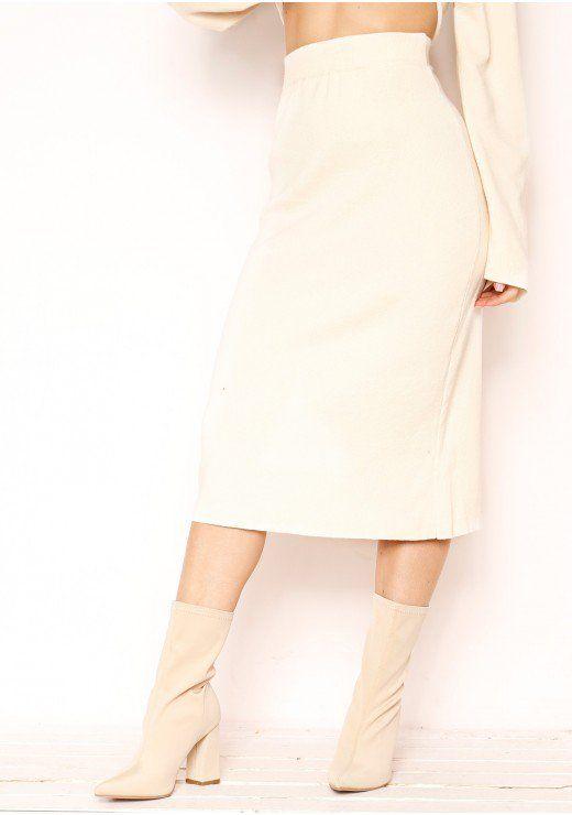 508da3eeca6c1e Kaytlyn Beige Soft Knit Midi Skirt | Fashion inspo in 2019 | Midi ...