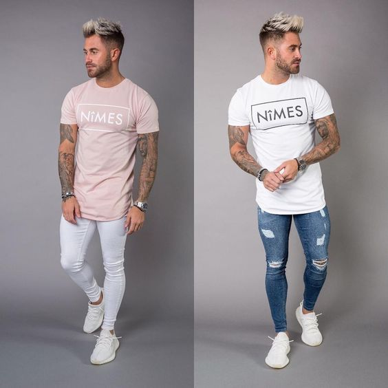New Longline T shirts Spray On Jeans Sleeveless T shirts Denim Slim Shorts Available Online at www.nimes.co.uk #GetTheLook #NimesLtd #SS17 #MensFashion #StreetWear #Denim #Fashion