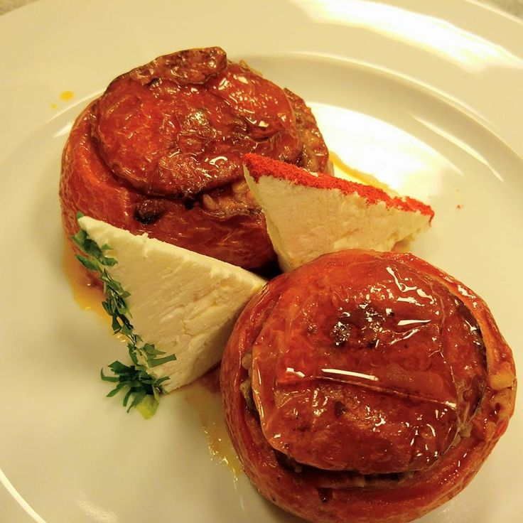 Odyssey hotel's Mnistires restaurant. Stuffed tomatoes (yiemista) and feta cheese