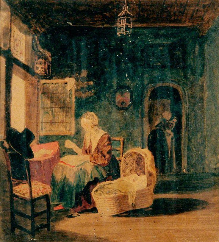 Joseph Clover: een interieur. 18e/19e eeuw. Norfolk Museum Service. Geïnspireerd op Gerard Dou: De jonge moeder. 1658.