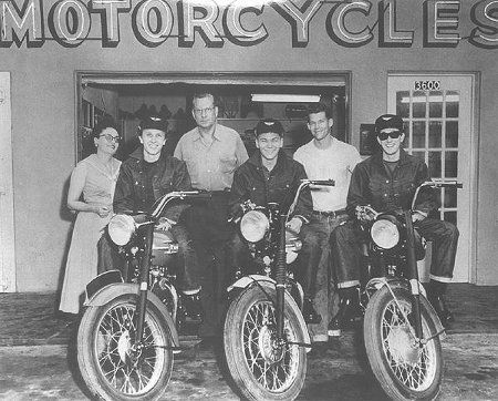 "Buddy Holly and The Crickets.  They went to Amarillo, intending to spend some of the money from a record deal on new bikes.  The Harley dealer didn't know who the ""kids"" were, and practically threw them out.  They went and bought brand-new Triumphs instead.  On their way back to Lubbock, they stopped by the Harley dealer on the way out of town to show off their rides."