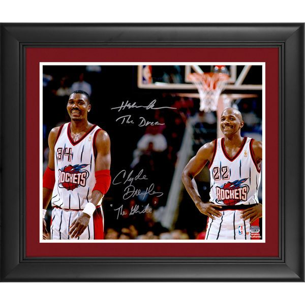 """Hakeem Olajuwon, Clyde Drexler Houston Rockets Fanatics Authentic Framed Autographed 16"""" x 20"""" Photograph with The Dream and The Glide Inscriptions - $359.99"""