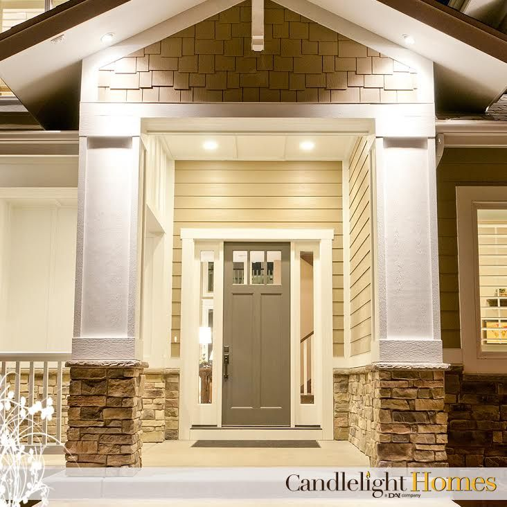 www.CandlelightHomes.com, front entry, front door, hardie board, white pillars, stone, white railing, candlelight homes