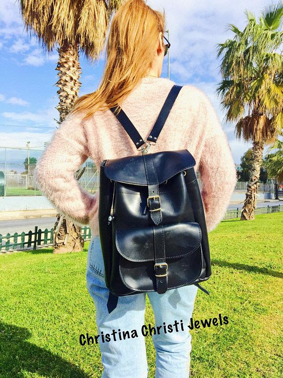 Leather Backpack, Leather Rucksack, Black Leather Backpack, College Bag, Made in Greece from Full Grain Leather, LARGE.