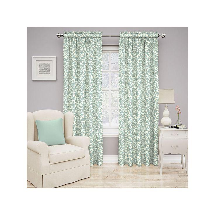 Traditions by Waverly Duncan Damask Curtain, Blue