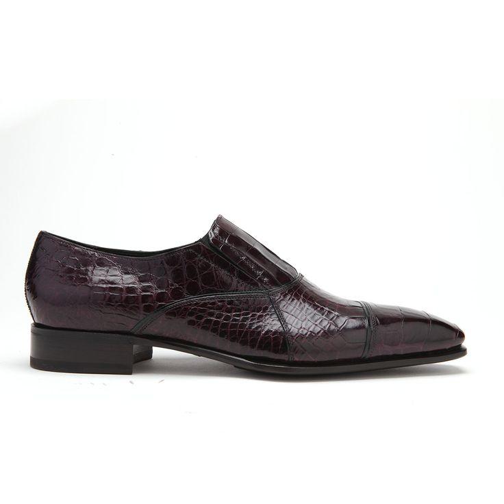 Caporicci Italian Mens Shoes Burgundy Alligator Loafers ART202 (CAP1003)