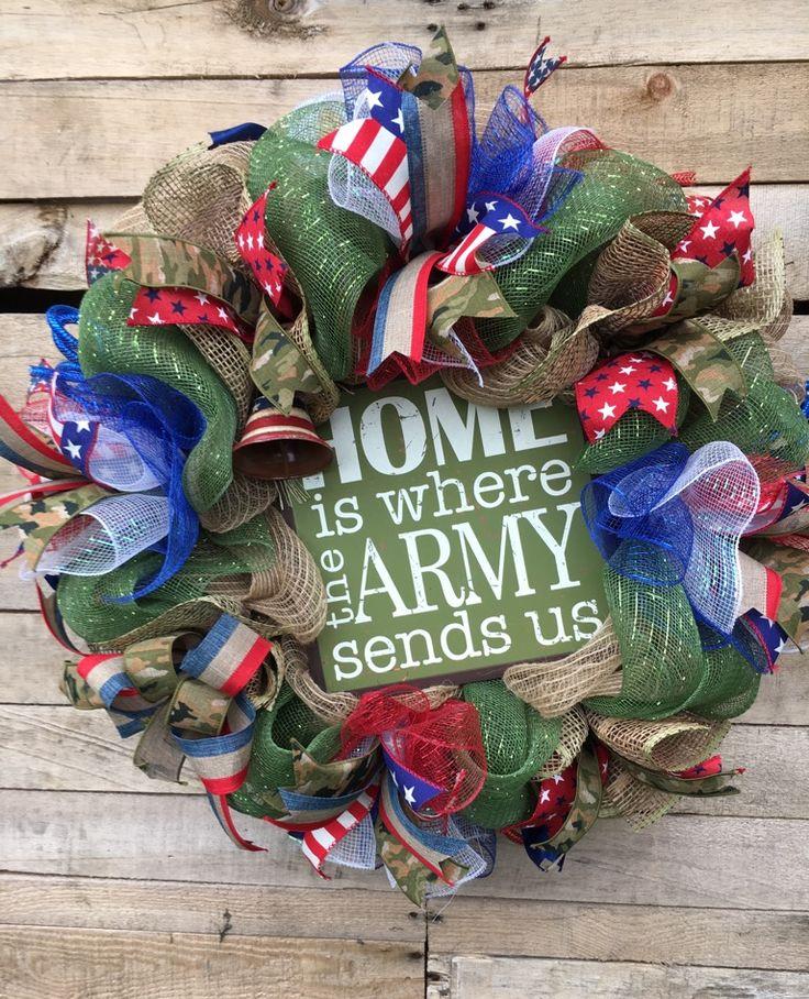 Army Wreath, Army Door Wreath, Military Decor, US Army Wreath, Door Wreath, Decorative Wreath, Military Wreath, Army Deco Mesh Wreath