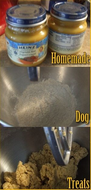 Make your own healthy dog treats - easy with baby food and flour. That's what I need to do with all this meat :p