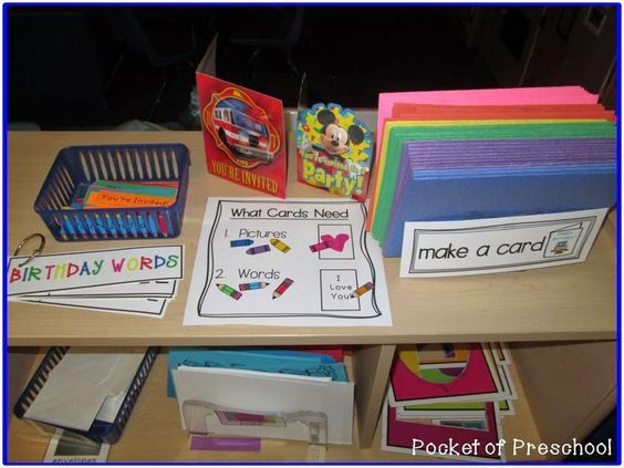 writing and drawing invitations in the librarywriting center pocket of preschool