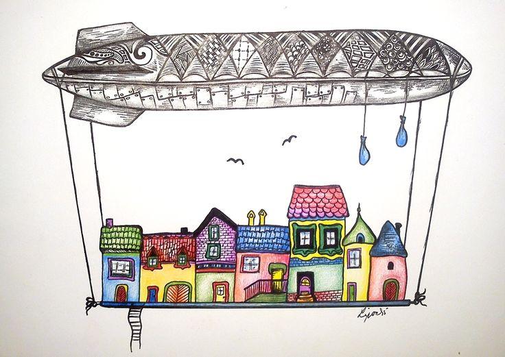 Grafika V oblakoch, kolorovaná kresba perom
