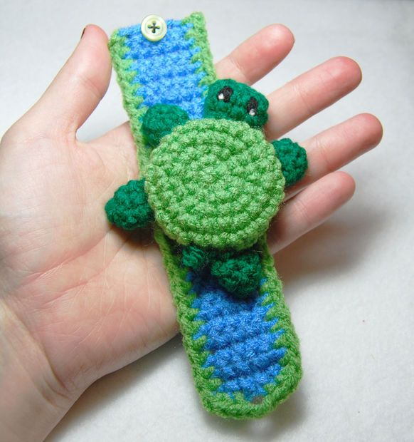 Picture of Crochet a Turtle Cuff Bracelet - Put a bell or noisemaker inside to make a cute rattle