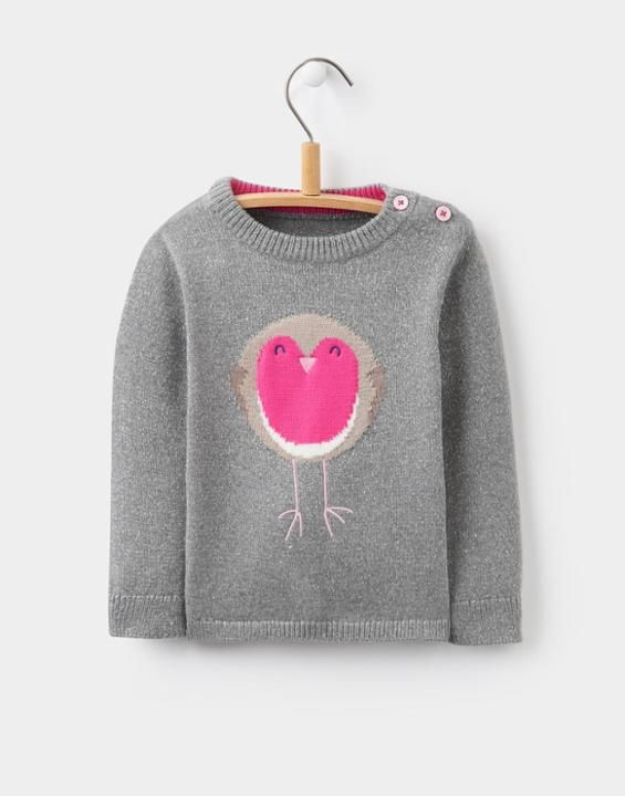 Chrissie Silver Intarsia Jumper | Joules UK