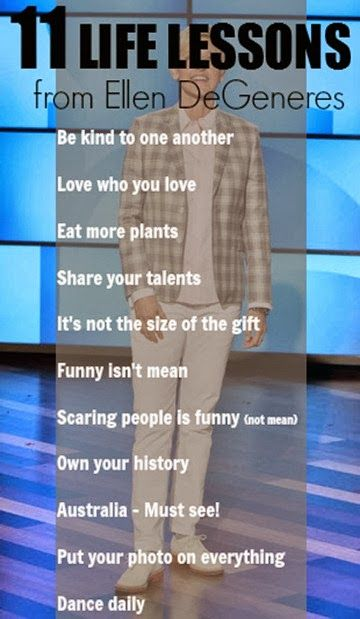 Nothing like some awesome life lessons from #Ellen DeGeneres