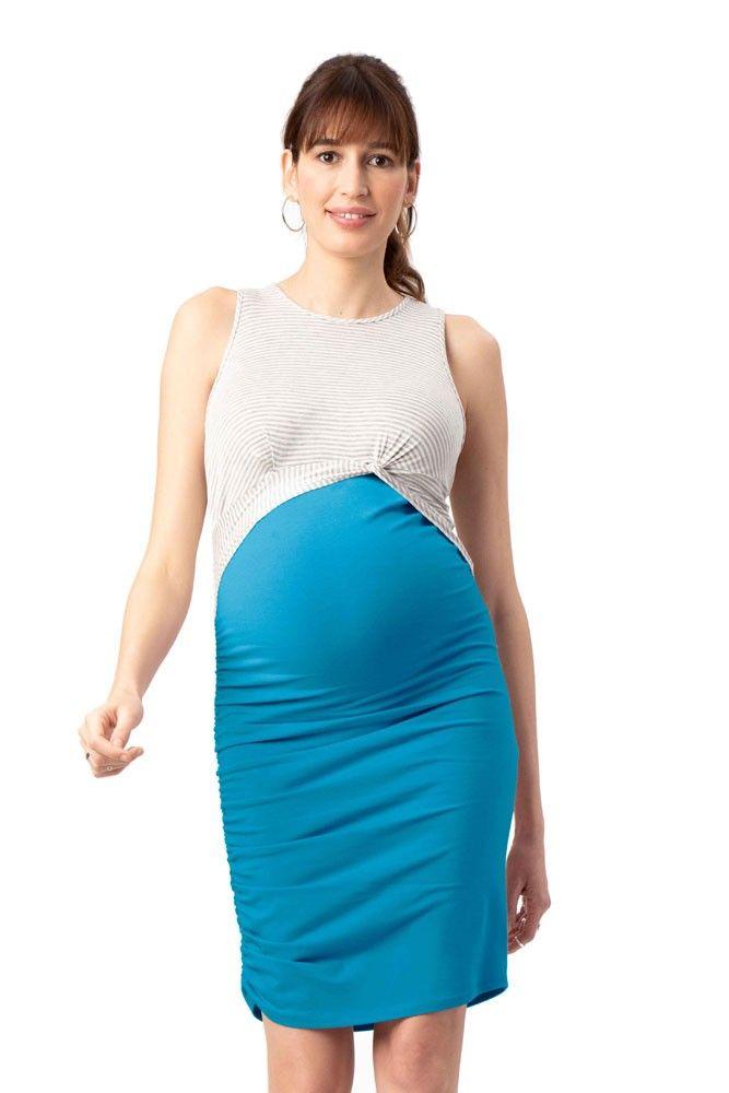 1a5c5ed0d7f0f Twist Colorblock Maternity & Nursing Dress (Teal) in 2019 | New ...